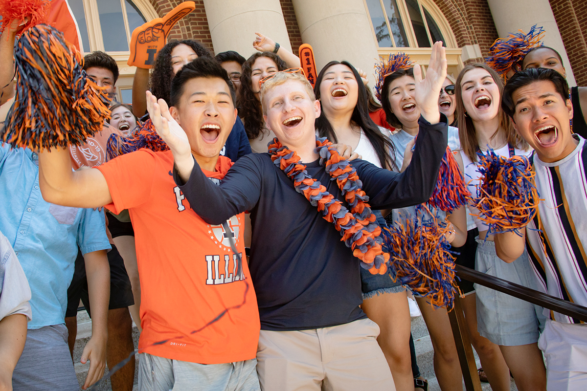 Students gathered near Foellinger Auditorium in July.