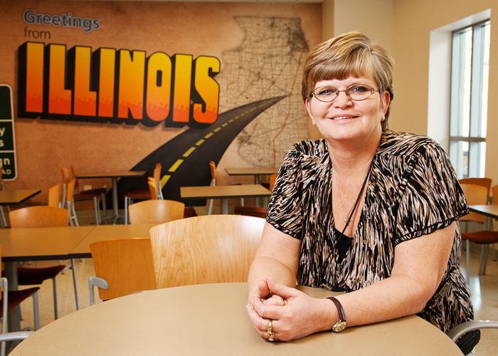 Sue Sanders leads a team of building service workers responsible for the cleanliness of the Champaign residence halls.
