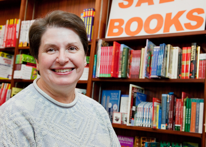 For me, it sounds crazy, but I love fall book rush. I love having all the kids come back to campus. I enjoy working with them and their parents as they come in to buy books. It invigorates me, said, Shirley Barnhart, Illini Union Bookstore assistant manager.