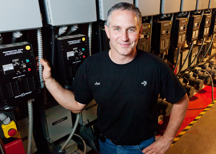 Joe Butsch, an electrician at Krannert Center for the Performing Arts, has helped make the performance venue greener since he began at the UI in 2004.