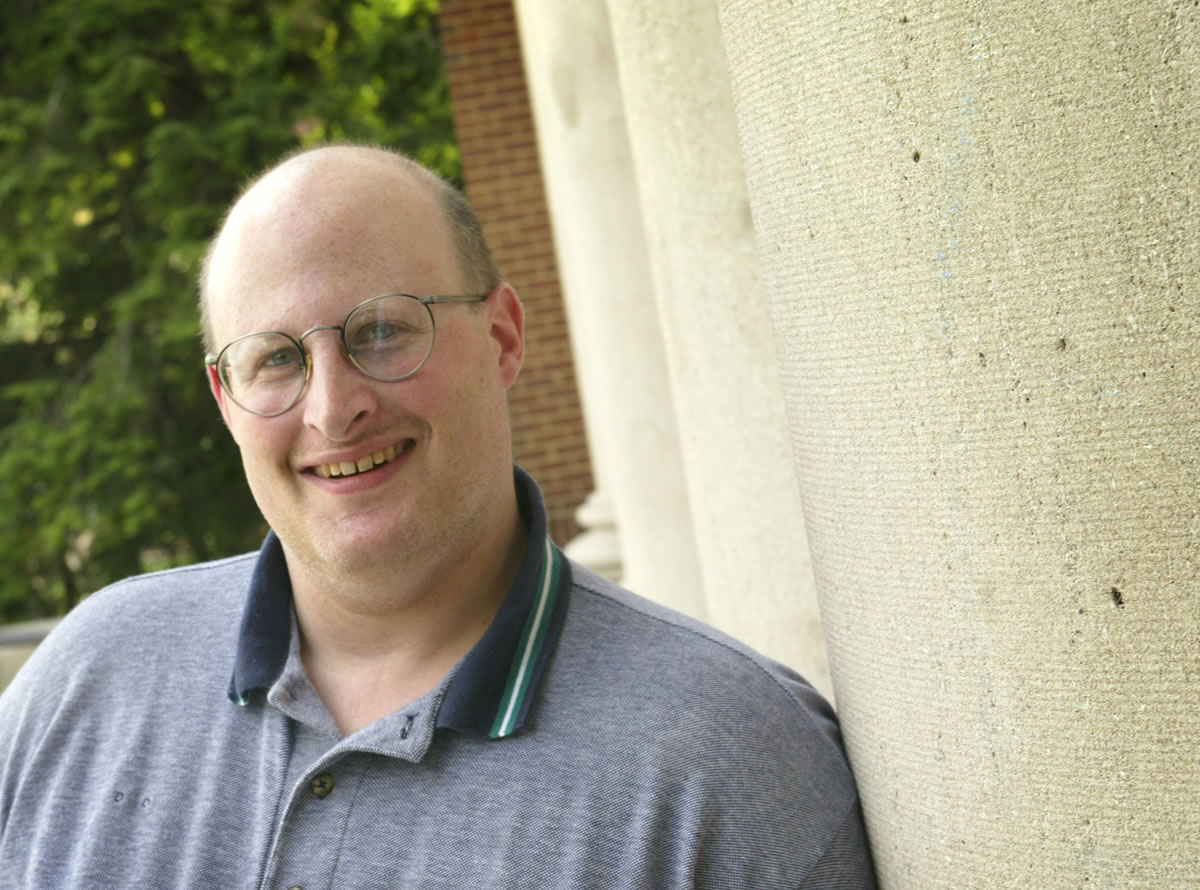 Eric Rochester, a UI building service worker for 11 years, has found all kinds of things when cleaning at night --including, one time several years ago, an envelope containing $1,000.