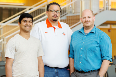 University of Illinois graduate students, from left, Shubhanshu Mishra and Derek A. Houston and alumnus Daniel A. Collier analyzed the content and civility of comments posted on four prominent websites in response to President Obama's announcement of his proposed program, America's College Promise. Co-authors on the study were Nicholas D. Hartlep and Brandon O. Hensley, an education professor and recent alumnus, respectively, both of Illinois State University.