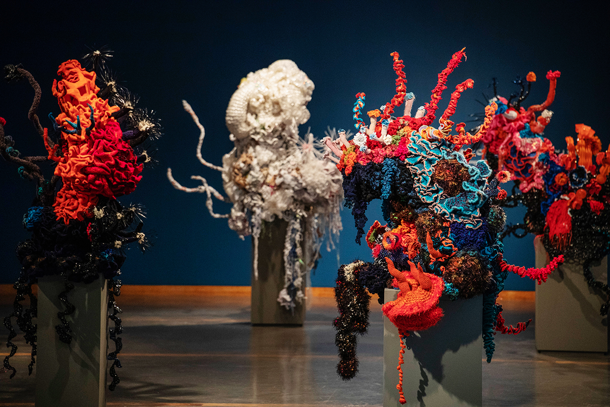 Crochet sculpture of a coral reef forest