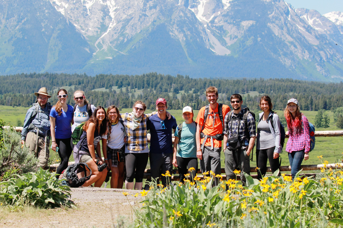 A group of University of Illinois students spent two weeks in June in the Greater Yellowstone area, learning through on-site experience about the politics and other issues surrounding national parks. Here's the class on its first day in Grand Teton National Park.