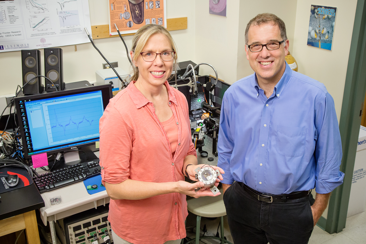 Illinois professors Nancy Sottos and Andrew Gerwith developed a method to comprehensively measure the mechanical stress and strain in lithium-ion batteries. It revealed a point of stress in charging that, if addressed through new methods or materials, could lead to faster-charging batteries.