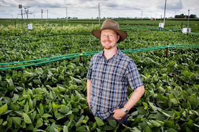 Plant biology professor Andrew Leakey and colleagues report that soybeans will suffer yield losses sooner than previously predicted under future conditions that combine elevated atmospheric carbon dioxide levels with drought.
