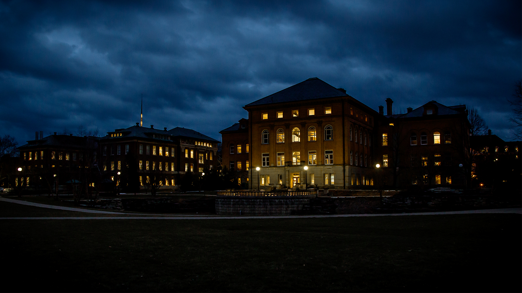 The back of Engineering Hall, viewed at night.