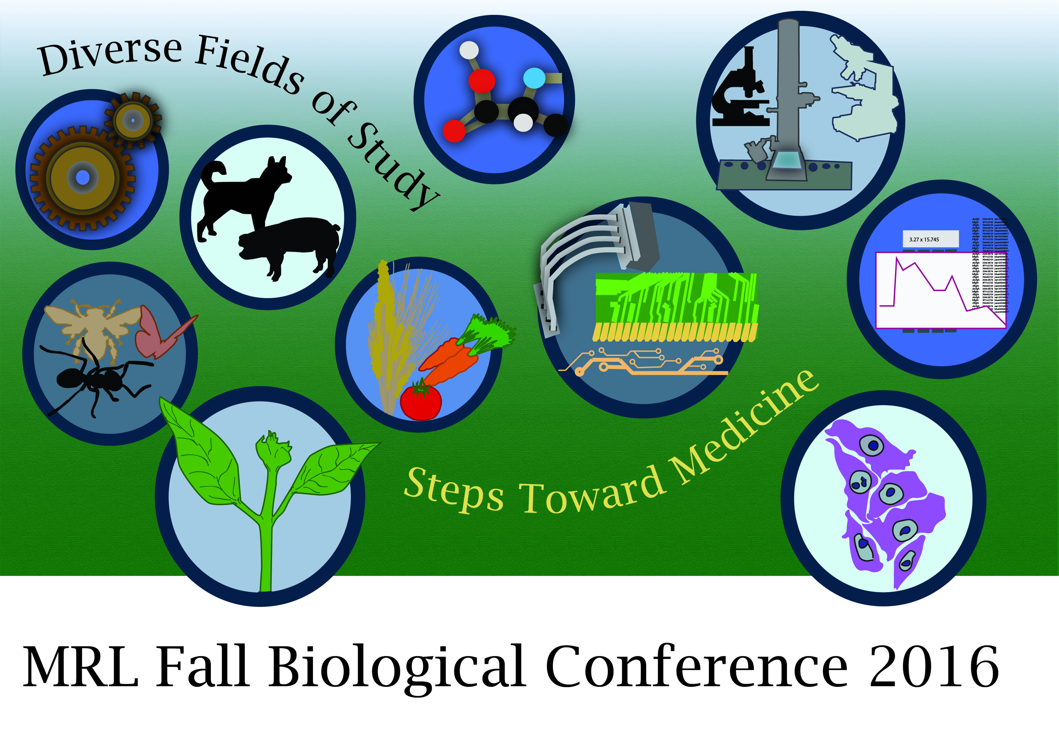 A graphic displaying various fields of study that will be addressed at the MRL event.