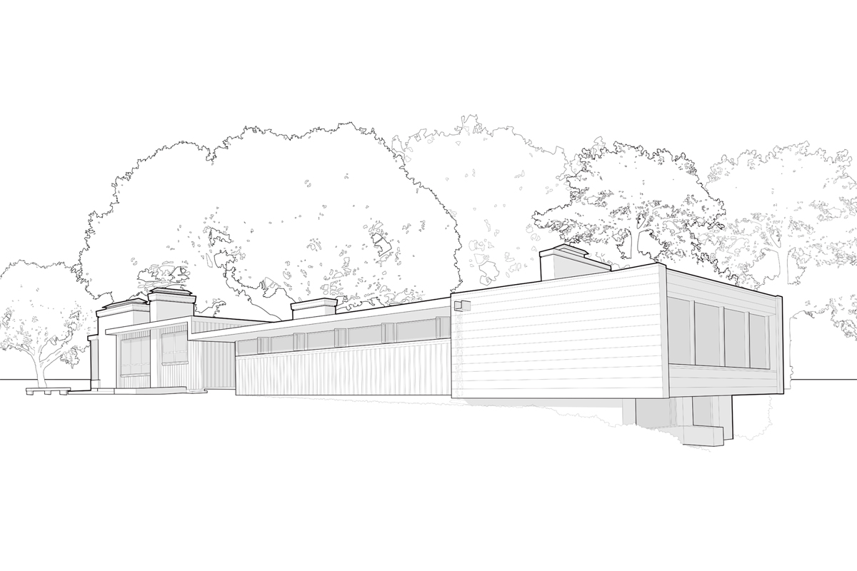Illinois architecture student andrew nuding drew an image of the exterior of the paul schweikher house for a historic preservation report on the home