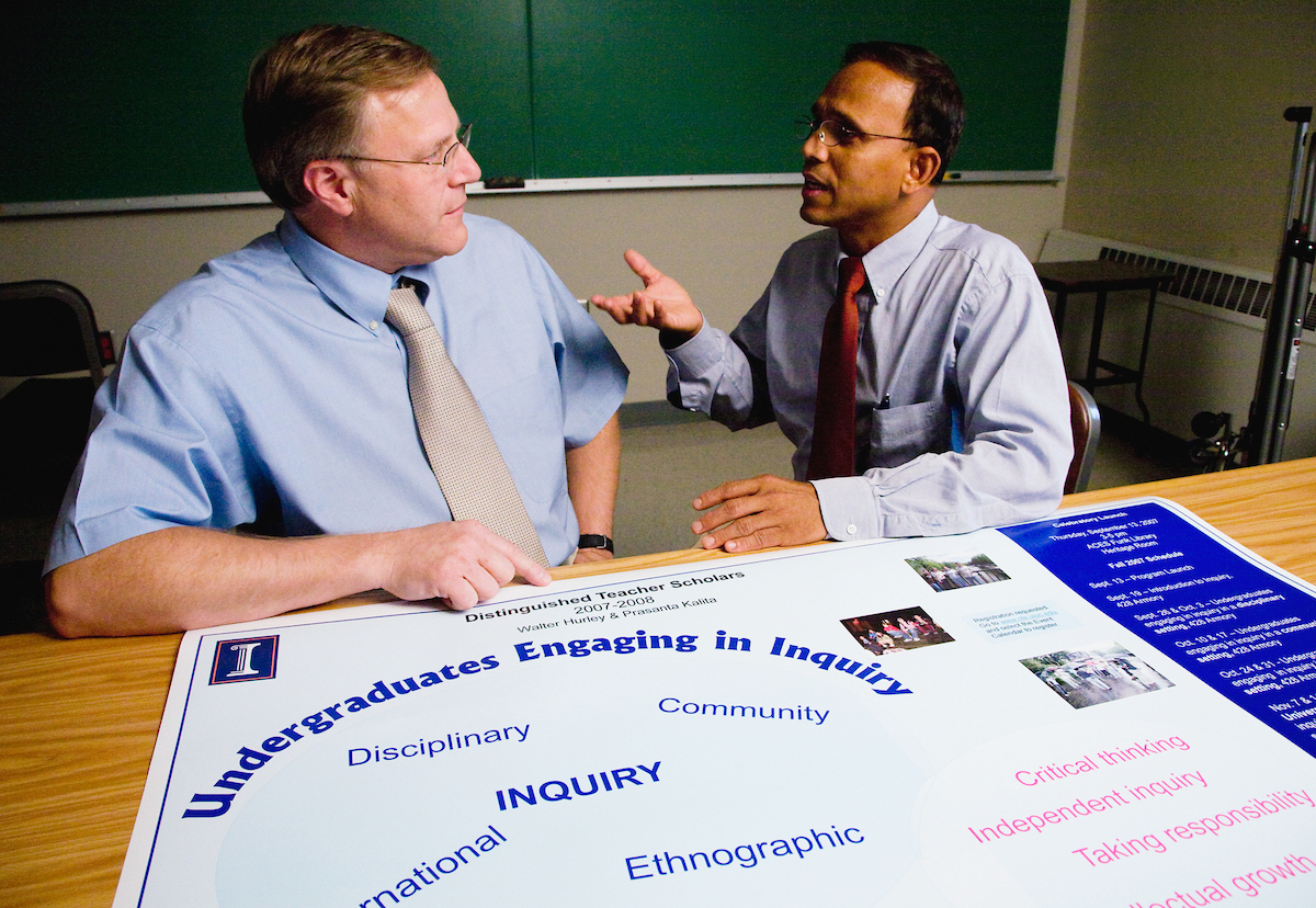 "Professors Walt Hurley, left, and Prasanta Kalita will help educators explore the benefits of inquiry-based and community-based learning and how teachers can incorporate these activities in their curricula. The seminar series, ""Undergraduates Engaging in Inquiry,"" meets from 3-5 p.m. Wednesdays in Room 428 Armory. The series runs through Nov. 28 and is open to anyone in the campus community interested in these topics."