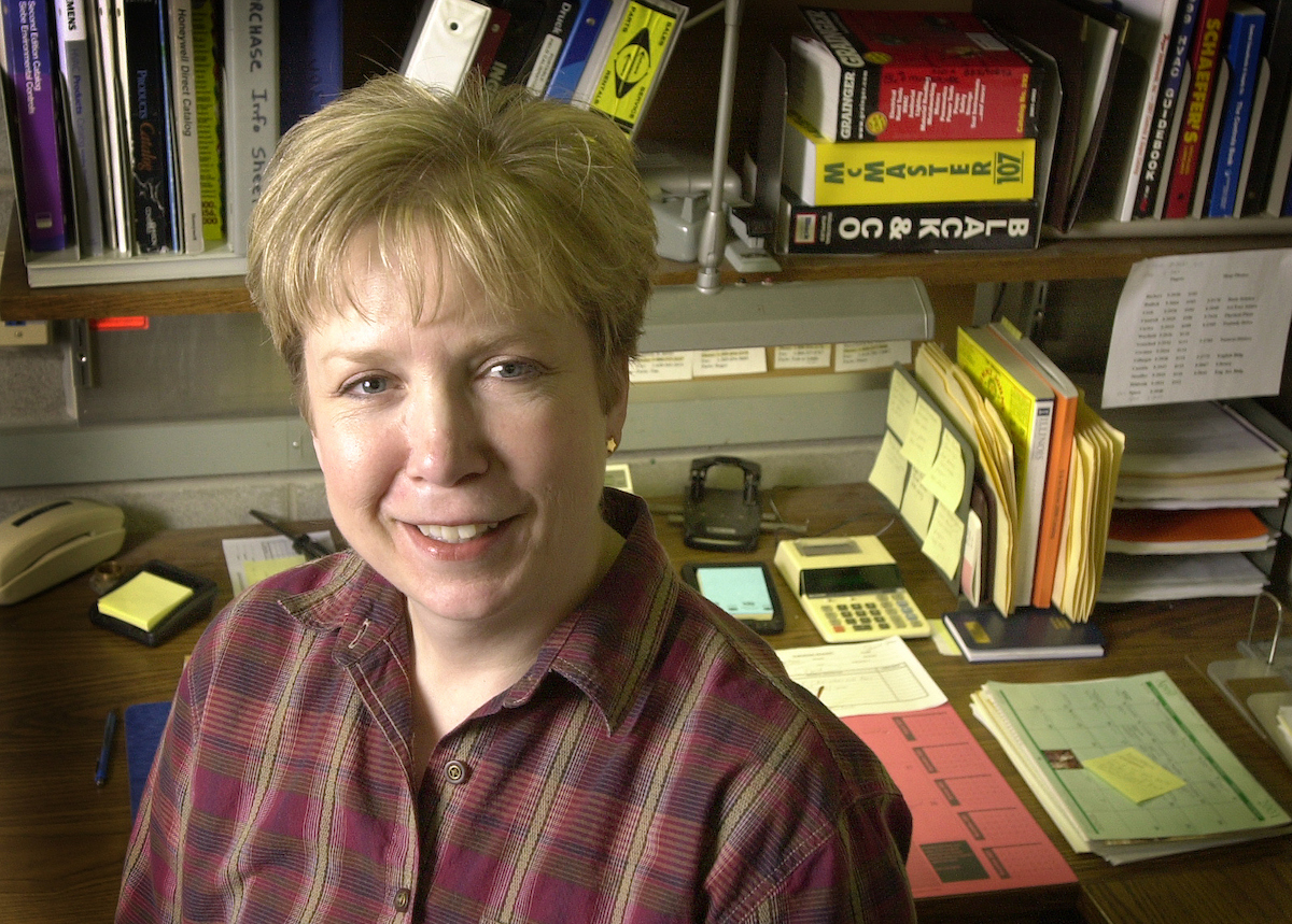 Janet Rudicil started at the university in July 1997 on the construction crew in the temperature control shop in the Division of Operation and Maintenance. She was promoted to become the shop's first female foreman Jan. 22 of this year.