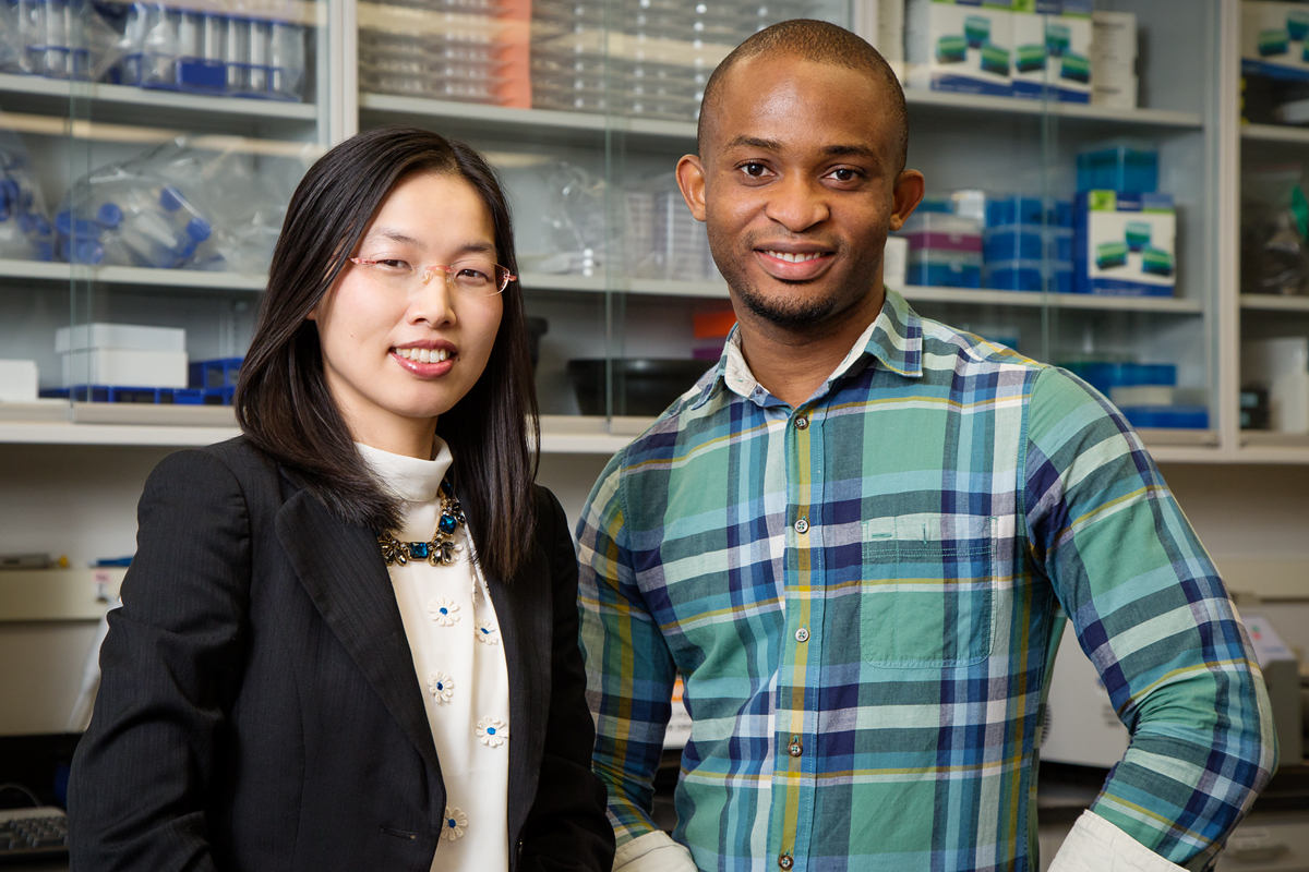 Illinois psychology professor Nu-Chu Liang and graduate student Nnamdi Nelson study the relationship between food and alcohol intake.