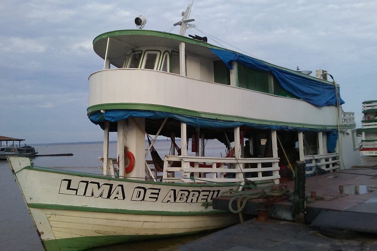 Our faithful research boat, the Lima de Abreu I, in the harbor at Tefé. We have lived on the boat during our time on the Amazon.
