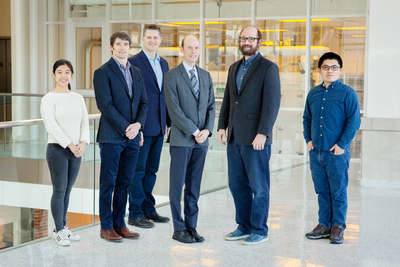 Xiaohui Zhang, left, Andrew Smith, Kelly Swanson, Erik Nelson, Mark Anastasio and Junlong Geng are part of a team working to clarify the relationship between obesity and inflammation while on the hunt for obesity-fighting drug therapies.