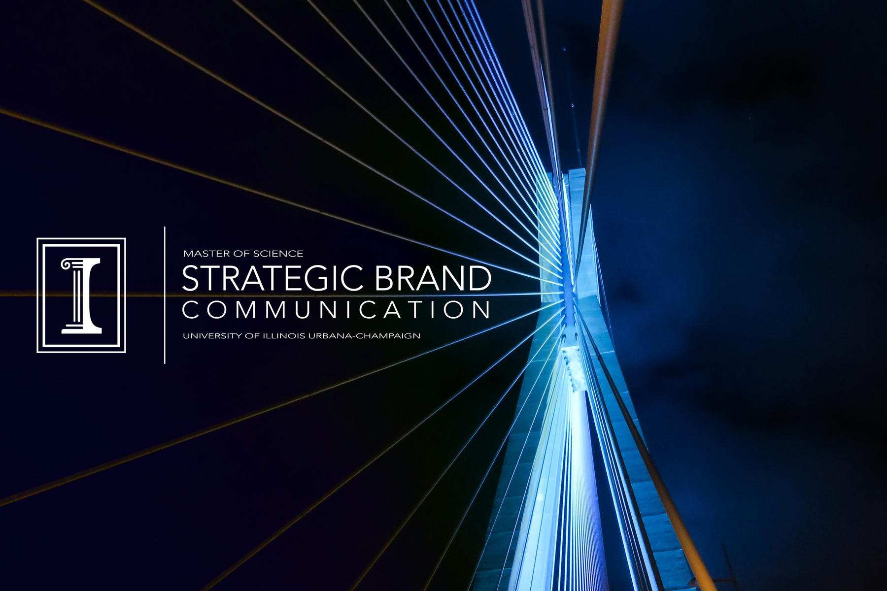 Graphic of online master's degree in strategic brand communication, a unique joint program between the College of Business and College of Media at the University of Illinois