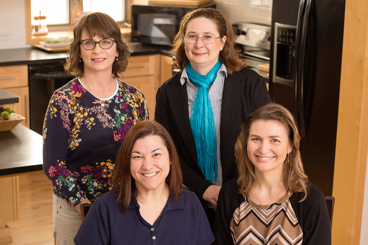 """A new study explored Latinas' attitudes toward lay community health researchers called """"promotoras."""" Co-authors on the paper were, from left front, Jennifer McCaffrey, assistant dean of family and consumer sciences; kinesiology and community health professor Andiara Schwingel; applied family studies professor Angela R. Wiley, and nutritional sciences professor Dr. Margarita Teran-Garcia."""