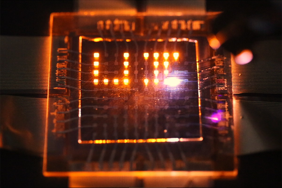 A laser stylus writes on a small array of multifunction pixels made by dual-function LEDs than can both emit and respond to light.