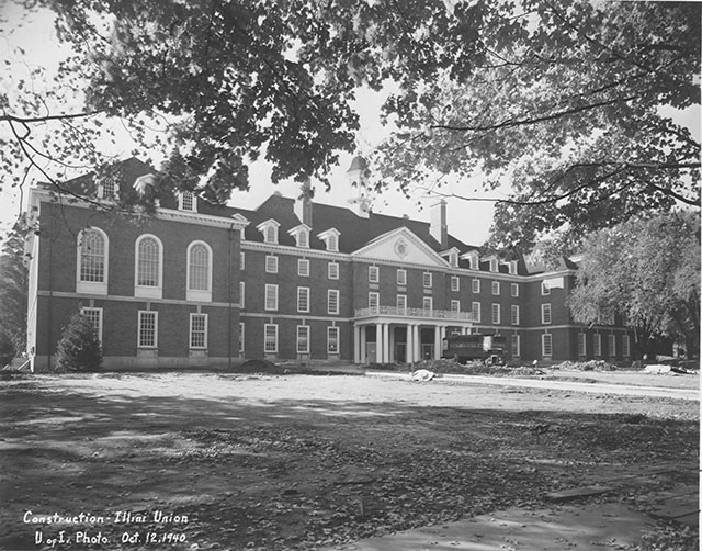 The front of the Illini Union under construction in 1940.