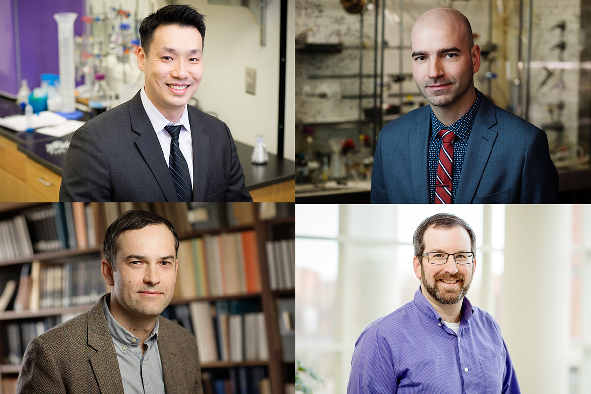 Four University of Illinois professors are recipients of Sloan Research Fellowships this year. The recipients are, clockwise, from top left, chemistry professor Jefferson Chan, chemistry professor David Sarlah, chemistry professor Josh Vura-Weis, and astronomy professor Joaquin Vieira.