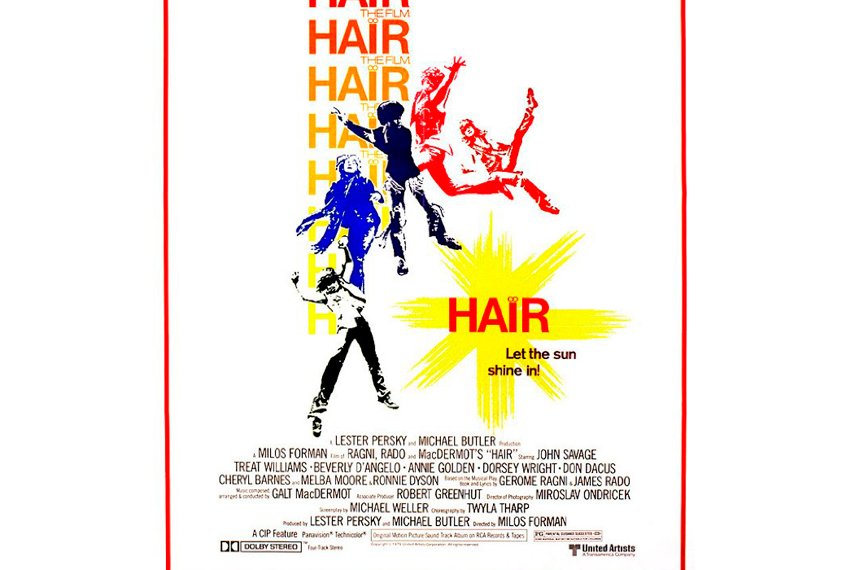 "The movie poster for ""Hair."""