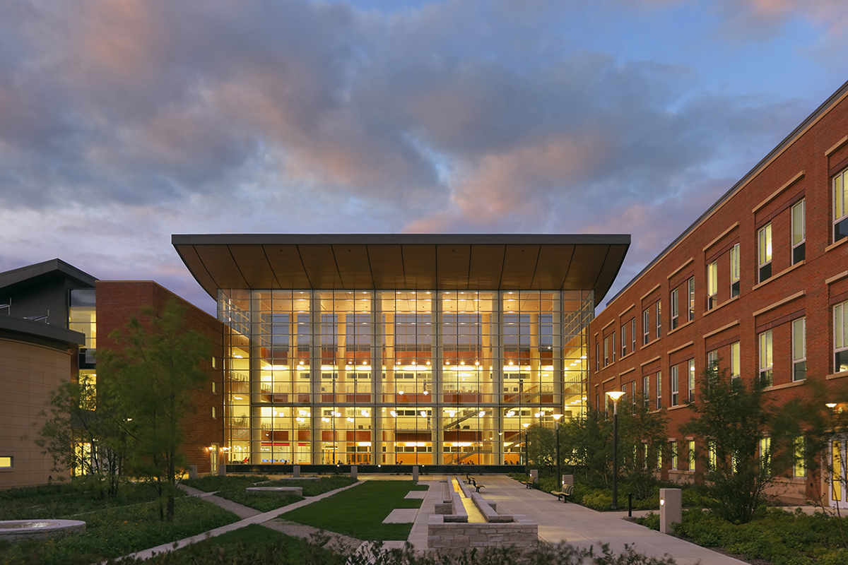 Photo of the Business Instructional Facility on the Urbana campus of the University of Illinois.