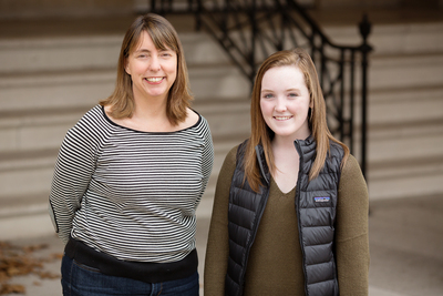 Professor Laura Payne gave her communication in recreation, sport and tourism class a unique assignment: Perform a random act of kindness and post about it on social media using the hashtag #RAKLexiTurner, an online campaign in memoriam of an Illinois teen killed by a train. Payne, left, is shown with one of her students, Meghan Hannigan, who used the assignment to remind recruits to her sorority to be cautious around railways.
