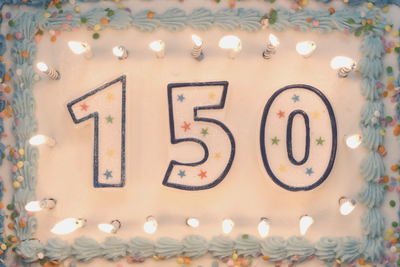 Birthday cake with the numbers 150