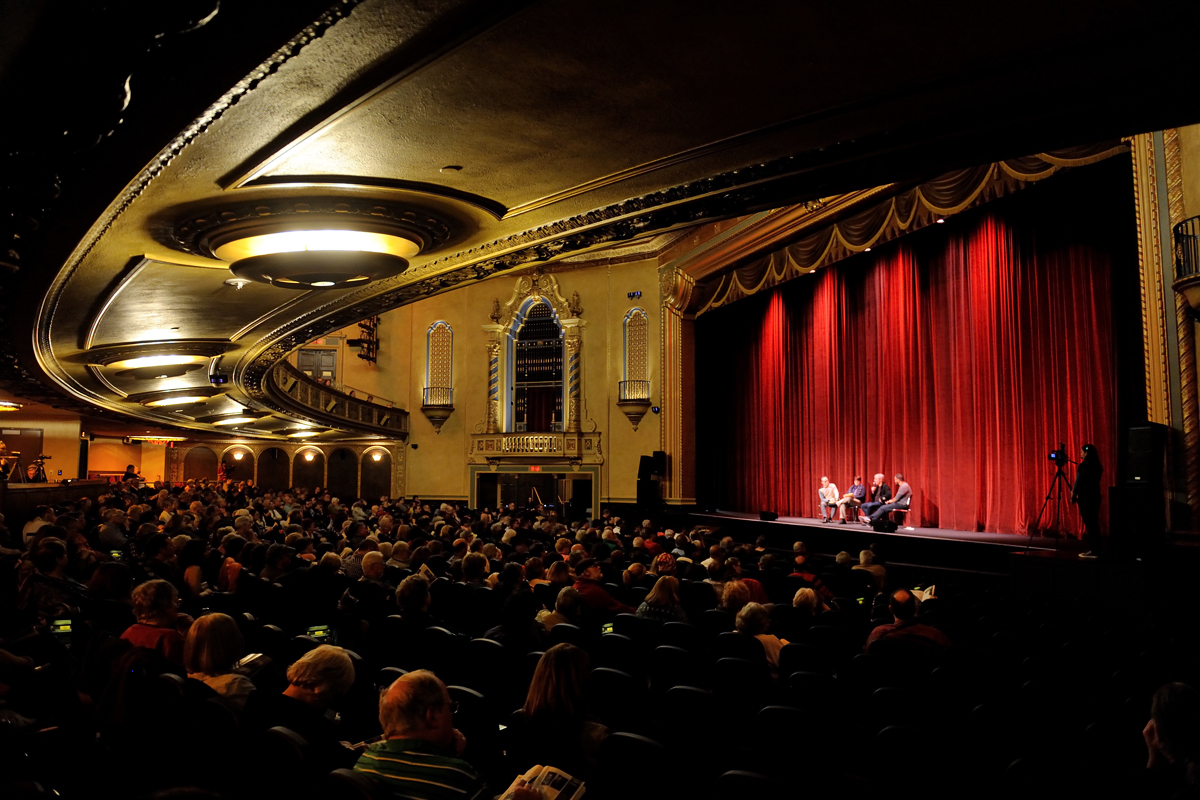 "An ""Ebertfest"" audience takes in a post-film discussion in the Virginia Theatre at the 2016 festival."