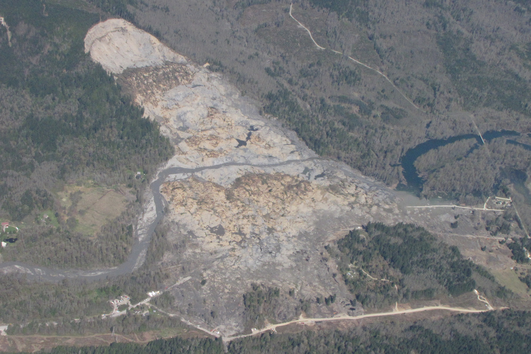 Aerial image of the Oso landslide on April 13, 2014.
