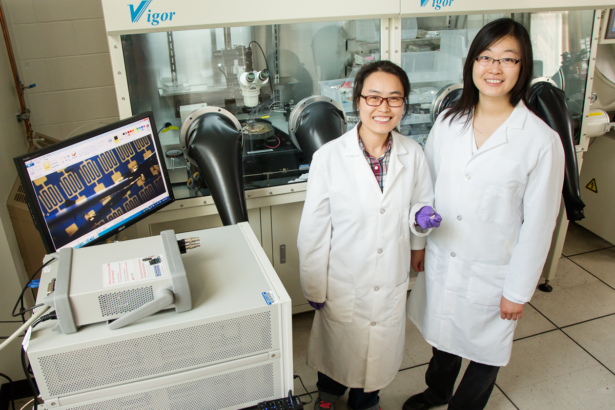 Postdoctoral researcher Fengjiao Zhang and professor Ying Diao developed devices for sensing disease markers in breath.