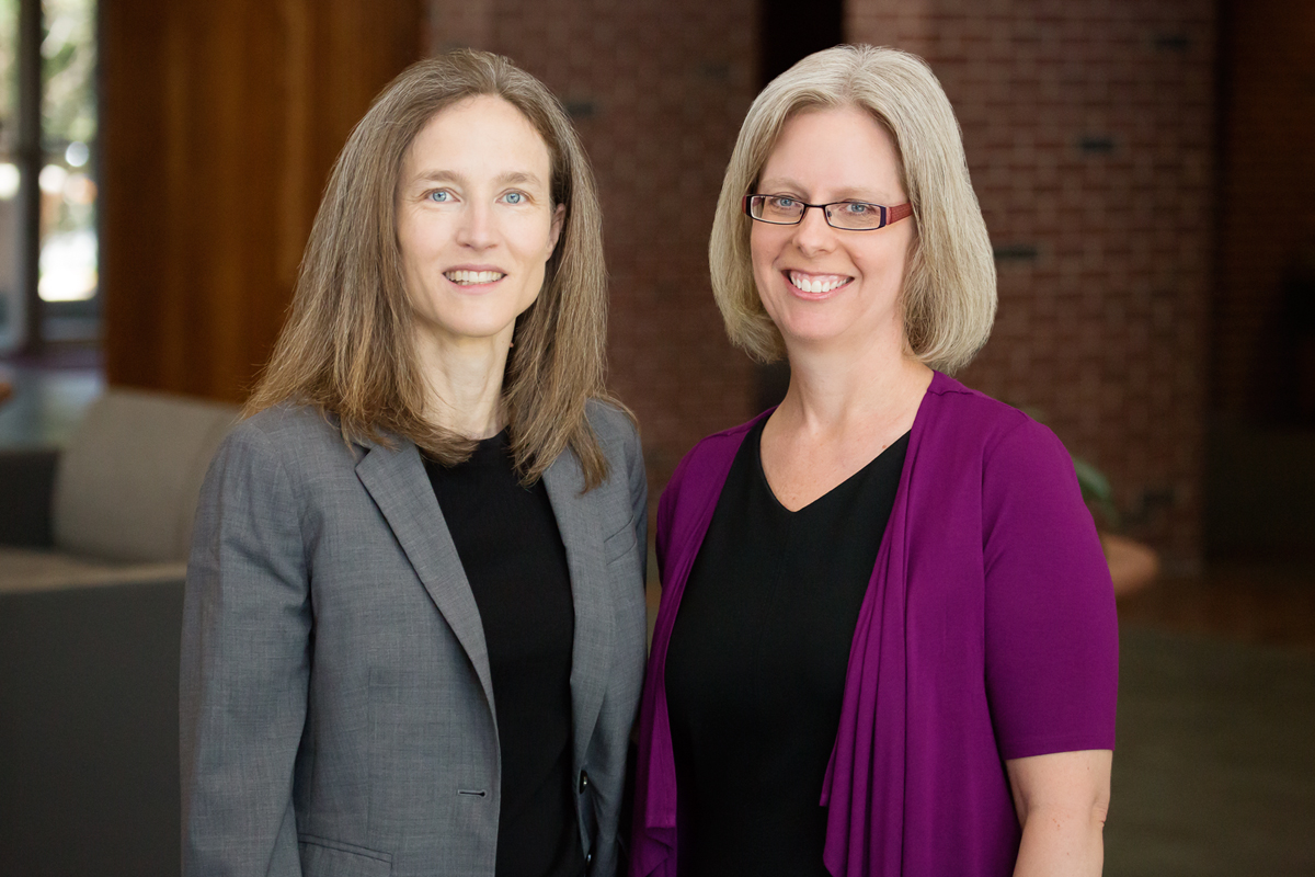 From left, a photo of U. of I. law professors Verity Winship and Jennifer K. Robbennolt.