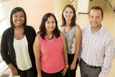 Graduate student Josephine Watson, professor Aditi Das, graduate student Megan Corbett, professor Kristopher Kilian and their colleagues discovered an enzymatic pathway that converts omega-3-derived endocannabinoids into more potent anti-inflammatory molecules.