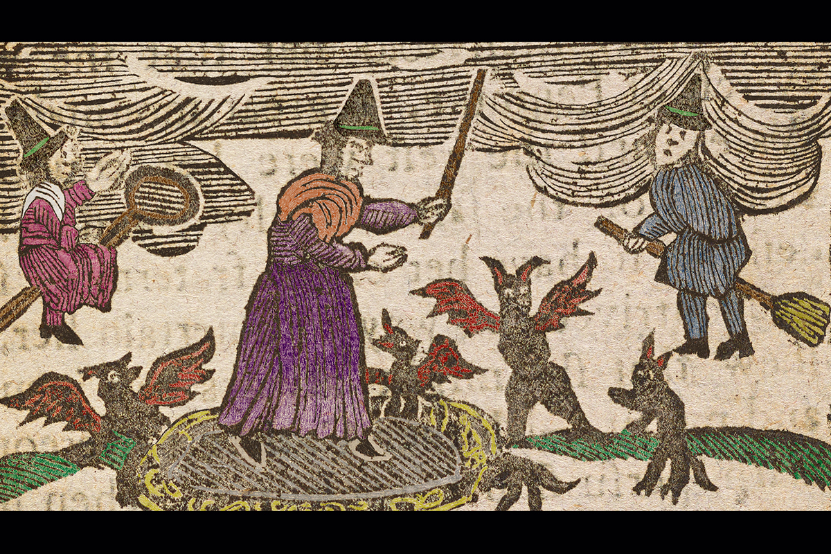 "Colored woodcut from ""The History of the Lancashire Witches,"" ca. 1785."