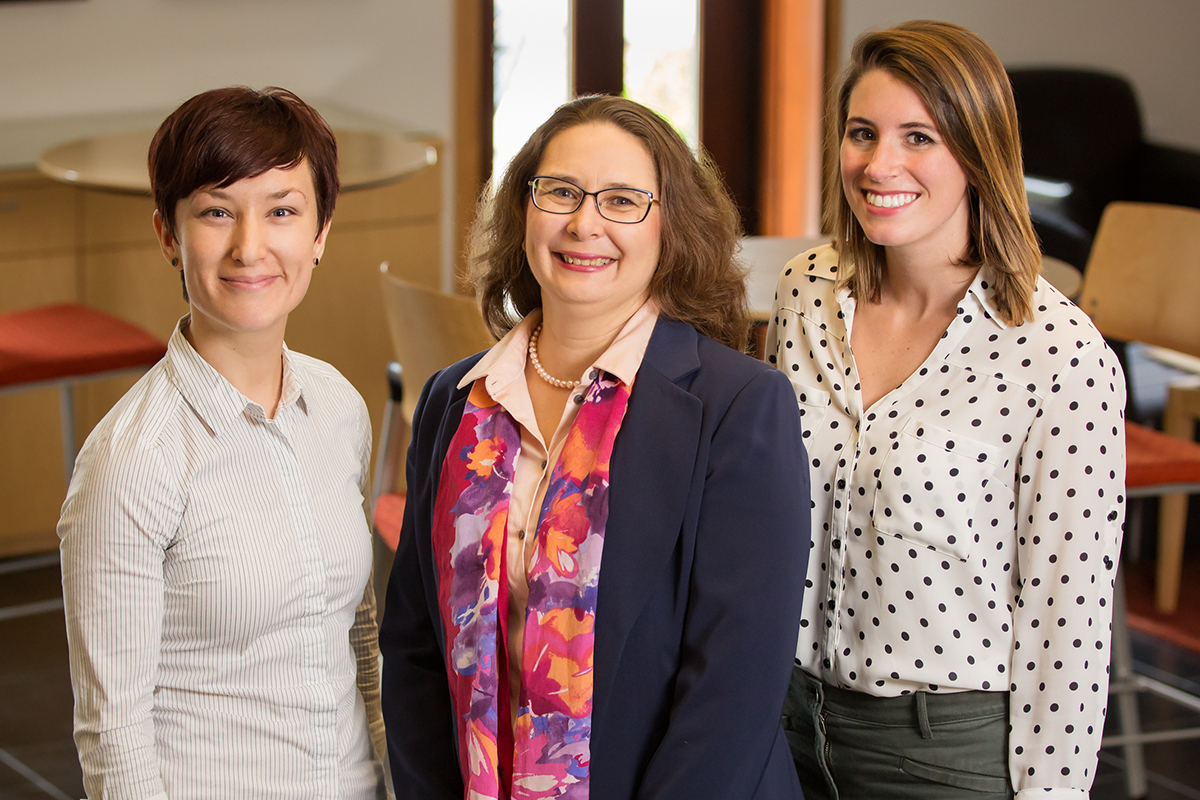 Substituting foods low in saturated fat may not be as beneficial for high cholesterol and weight loss as previously thought, suggests a new study led by graduate research assistant Bridget A. Hannon, right. Co-authors included, from left, pre-doctoral fellow Sharon V. Thompson and Dr. Margarita Teran-Garcia, who holds appointments in nutritional sciences and human development and family studies.