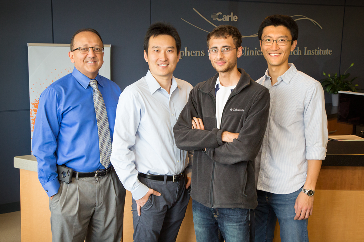 Researchers at the University of Illinois worked with physicians at Carle Foundation Hospital in a new study that found one measurement of biomarkers in the blood can predict a patient's sepsis status as well as monitoring the patient for hours. Pictured, from left: Professors Rashid Bashir and Ruoqing Zhu, Prenosis Inc. employee Ishan Taneja and professor Sihai Dave Zhao.