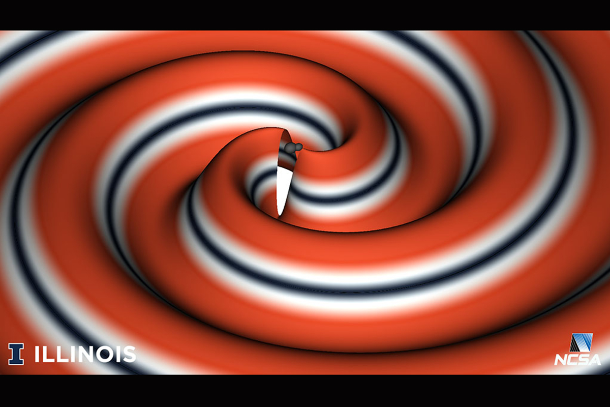 Graphic representation of the collision of two black holes