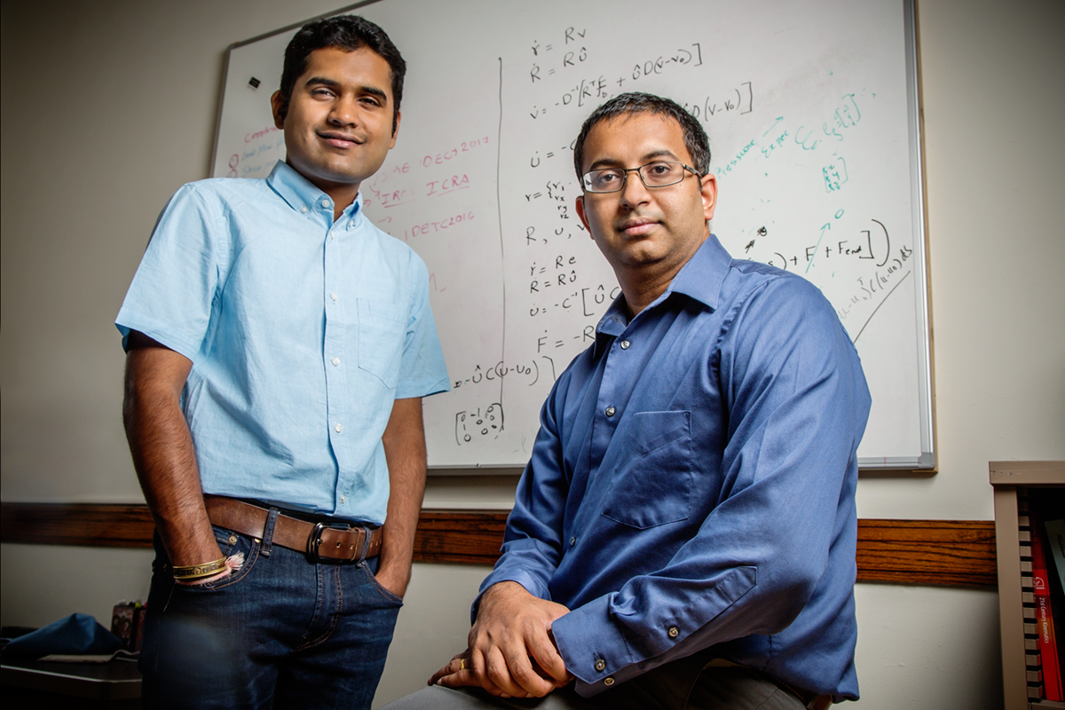 Sreekalyan Patiballa, left, and professor Girish Krishnan have developed a new, award-winning conceptual model to better define the complicated concept of auxetic materials.