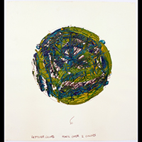 Image of an abstract work by Louise Fishman in the shape of a circle and colored withe blues, greens and yellows.