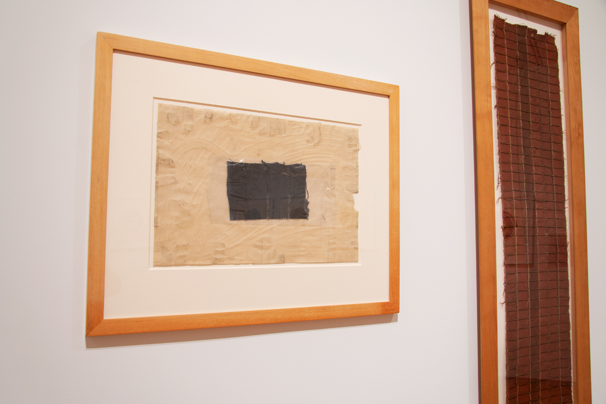 Image of abstract works by Louise Fishman created with canvas stitched together and with materials such as vellum and wax.