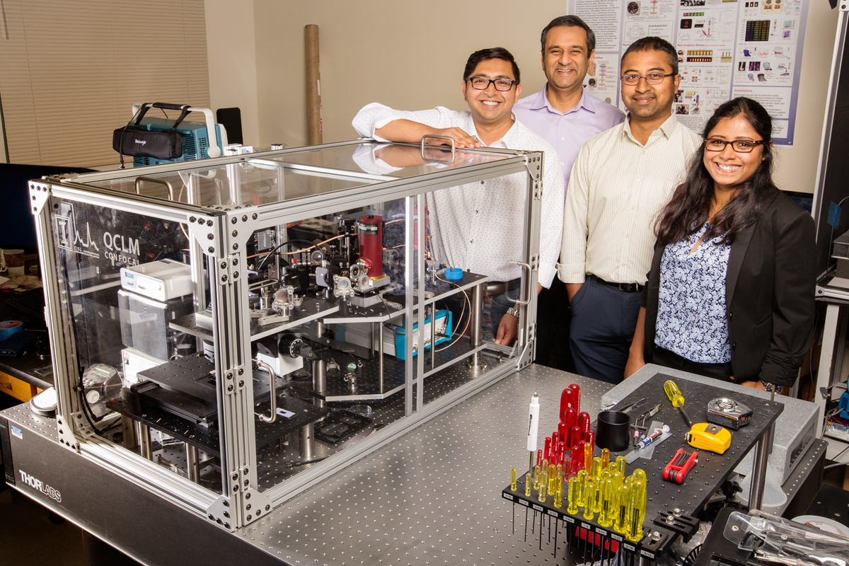 University of Illinois bioengineers, from left, Ayanjeet Ghosh, professor Rohit Bhargava, Prabuddha Mukherjee and Sanghamitra Deb are using an updated infrared imaging technique to better examine and optimize a group of materials that could help solve some of the world's most challenging energy, environmental and pharmaceutical challenges.