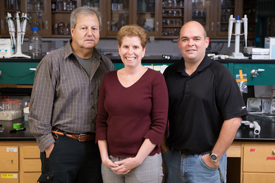 A new study of mice by scientists at the University of Illinois raises concerns about the potential impact that long-term exposure to genistein prior to conception may have on fertility and pregnancy. The study was conducted by, from left, food science and human nutrition professor William G. Helferich, comparative biosciences professor Jodi A. Flaws and animal sciences research specialist James A. Hartman.