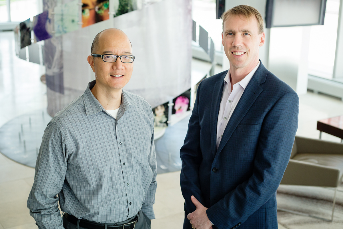 U. of I. veterinary oncologist Dr. Timothy Fan, left, chemistry professor Paul Hergenrother and their colleagues are testing the safety of a new cancer drug in a clinical trial for humans with late-stage brain cancer. The compound has worked well in canine patients with brain cancer, lymphoma and osteosarcoma.