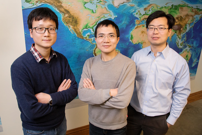 From left, geology graduate students Jiashun Hu and Quan Zhou and professor Lijun Liu challenge traditional theories about western U.S. volcanism with new evidence from supercomputer modeling.