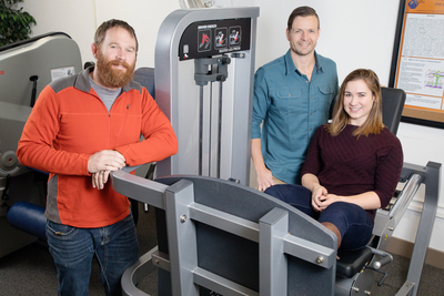 From left, nutritional sciences graduate student Joseph Beals, kinesiology and community health professor Nicholas Burd, kinesiology graduate student Sarah Skinner and their colleagues found that eating whole eggs after resistance exercise boosted muscle building and repair significantly more than eating egg whites with an equivalent amount of protein.