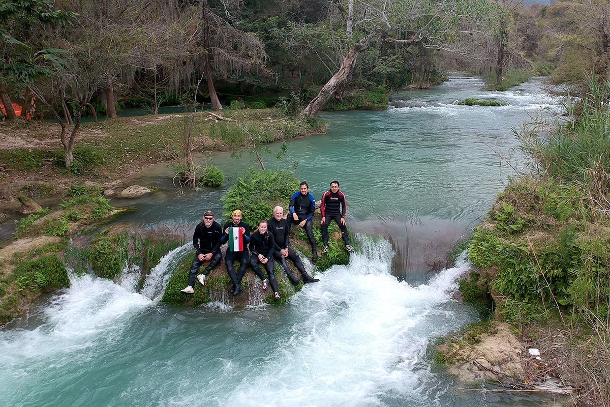The team pauses for a moment in the Rio Valles, one of several collecting sites in San Luis Potosi.