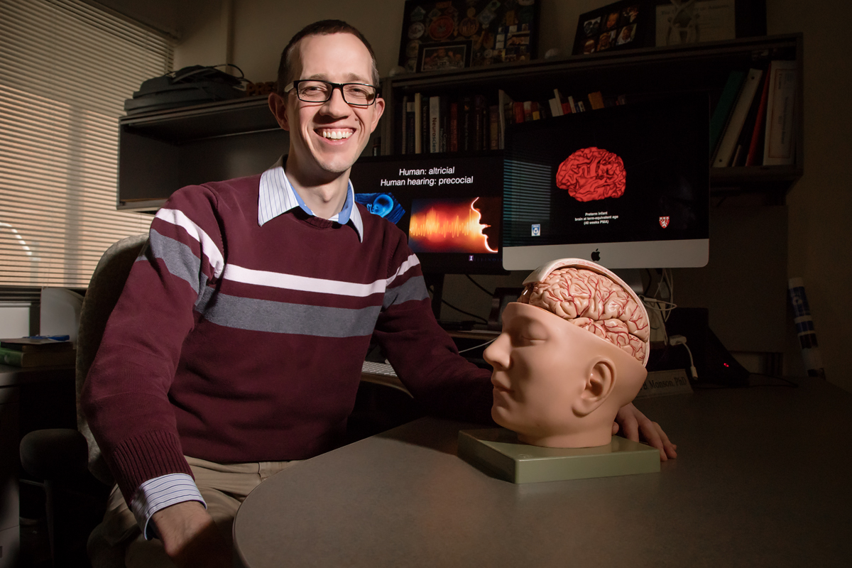Brian Monson led a study of auditory brain development in preterm infants.
