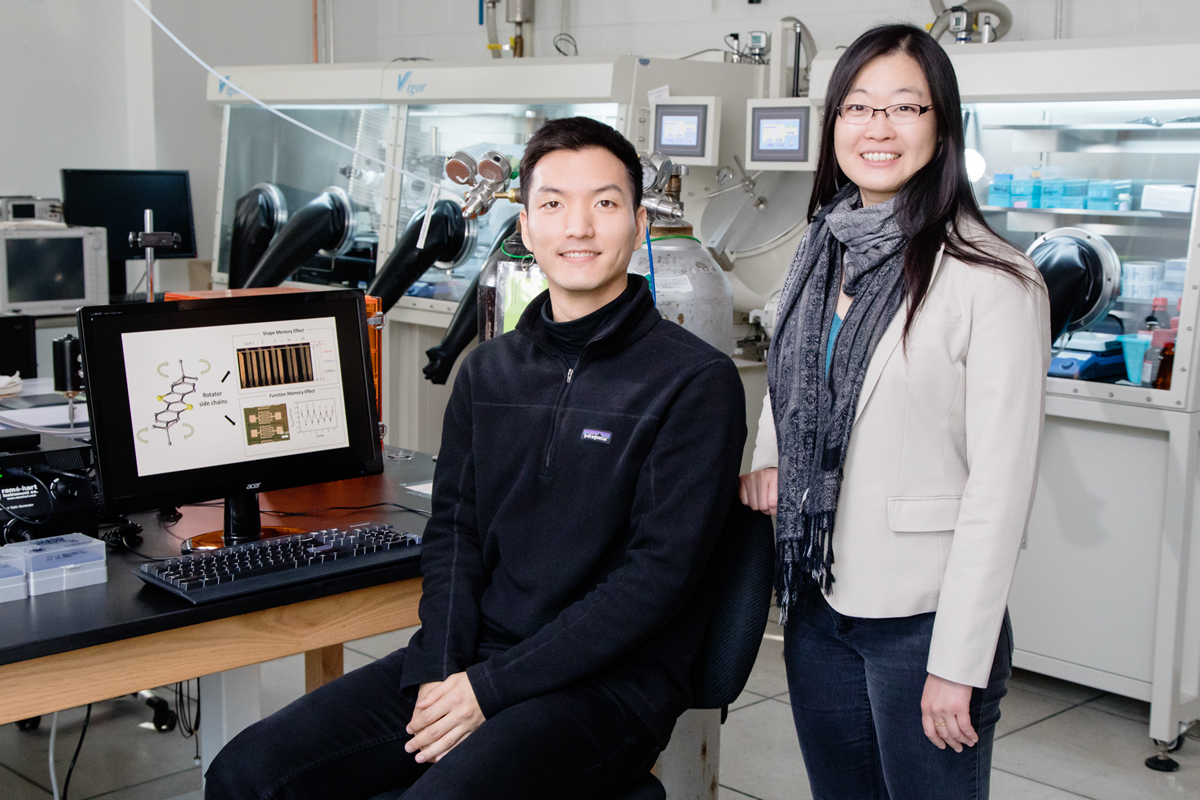 Illinois chemistry and biomolecular engineering professor Ying Diao, right, and graduate student Hyunjoong Chung are part of a team that has identified a mechanism that triggers shape-memory in organic crystals used in plastic electronics.