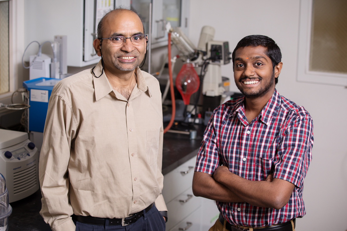 Illinois Sustainability Technology Center researchers B.K. Sharma, left, and Sriraam Chandrasekaran have developed the first energy-efficient and environmentally benign e-waste recycling process.