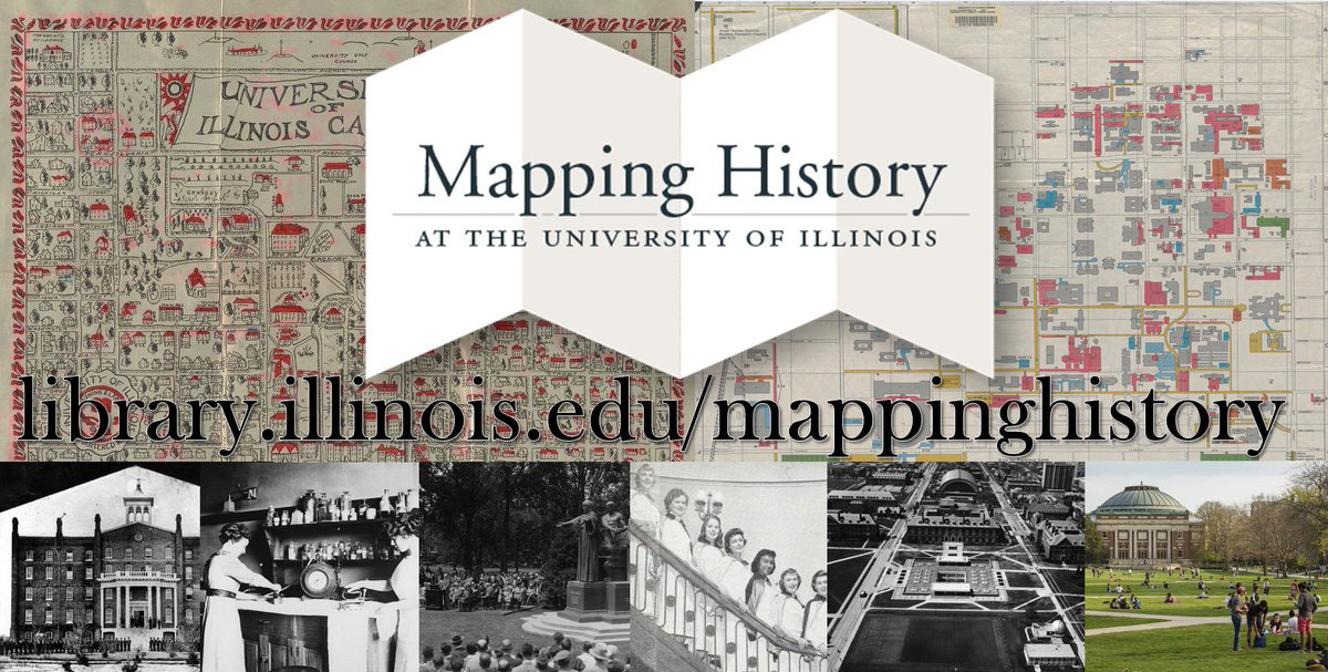 Various images showing the history of mapping at Illinois.