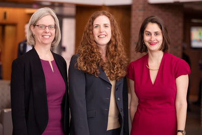 A photo of, from left, Jennifer Robbennolt, the associate dean for research at the College of Law and co-director of the Program on Law, Behavior, and Social Science; Colleen Murphy, the director of the Women and Gender in Global Perspectives Program at Illinois; and Lesley Wexler, a professor of law.